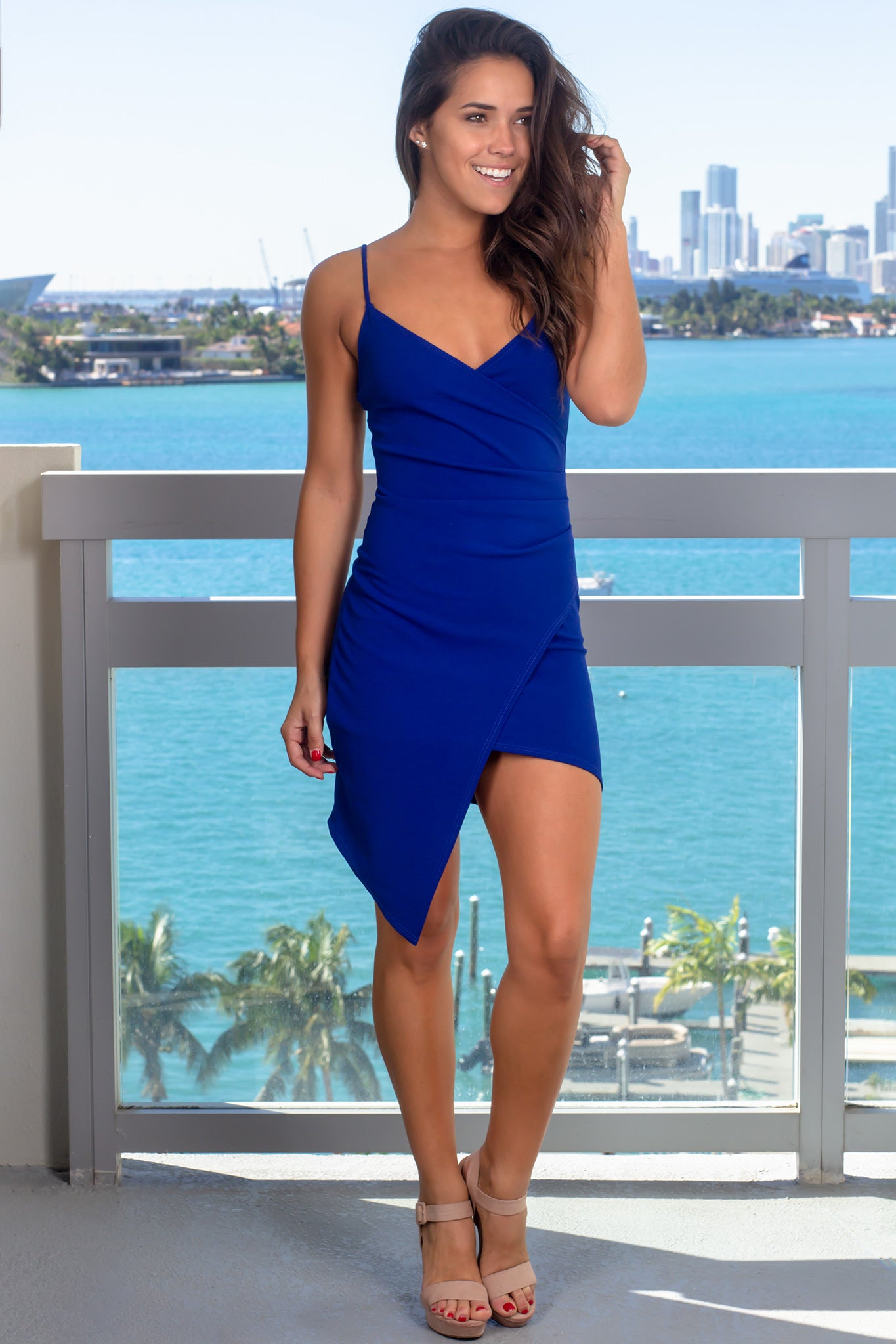Royal Blue Short Dress with Ruched Side