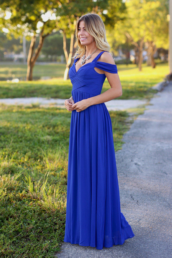 royal blue special occasion dress