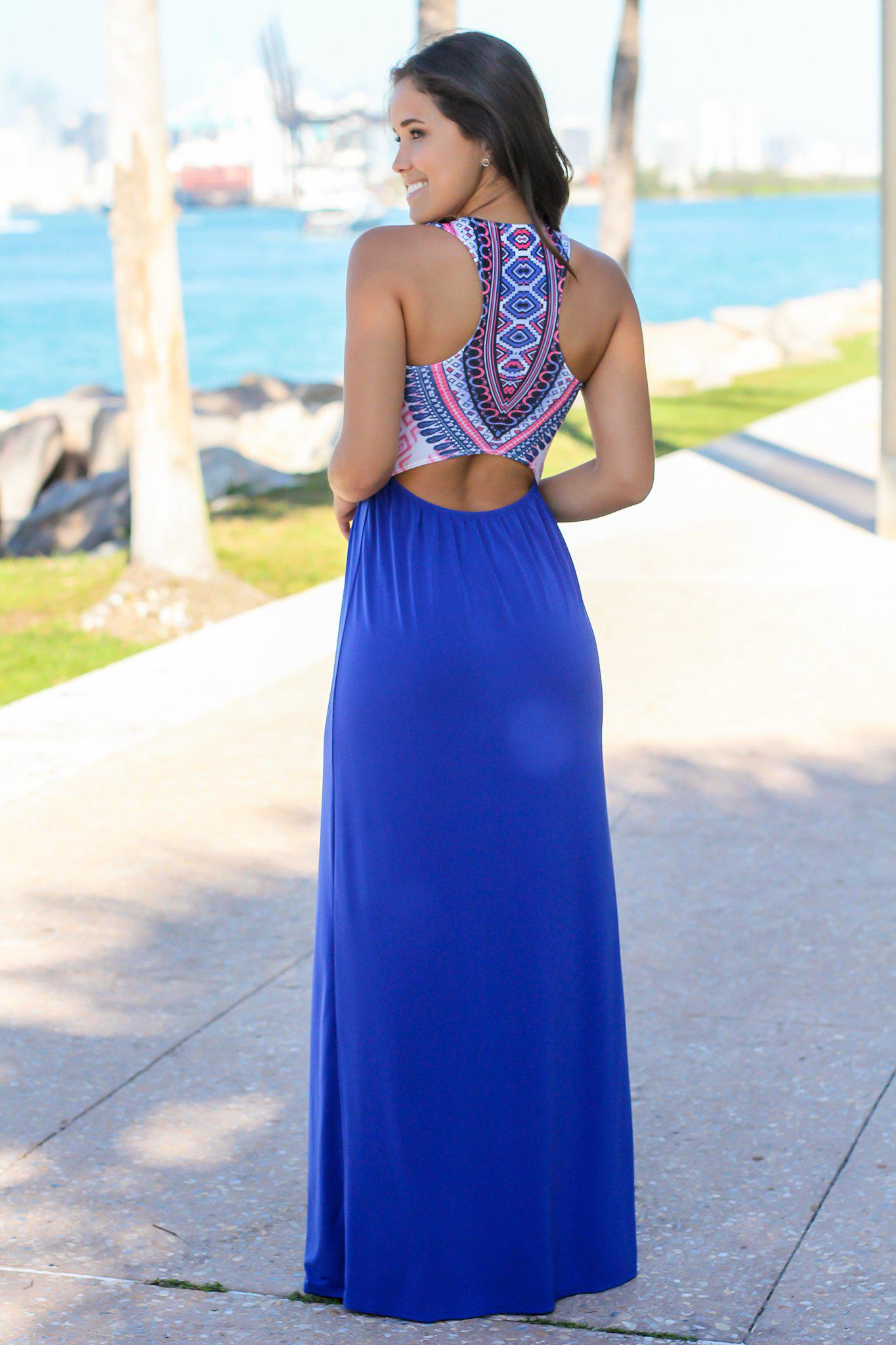 Royal Blue Tribal Maxi Dress with Cut Out Back