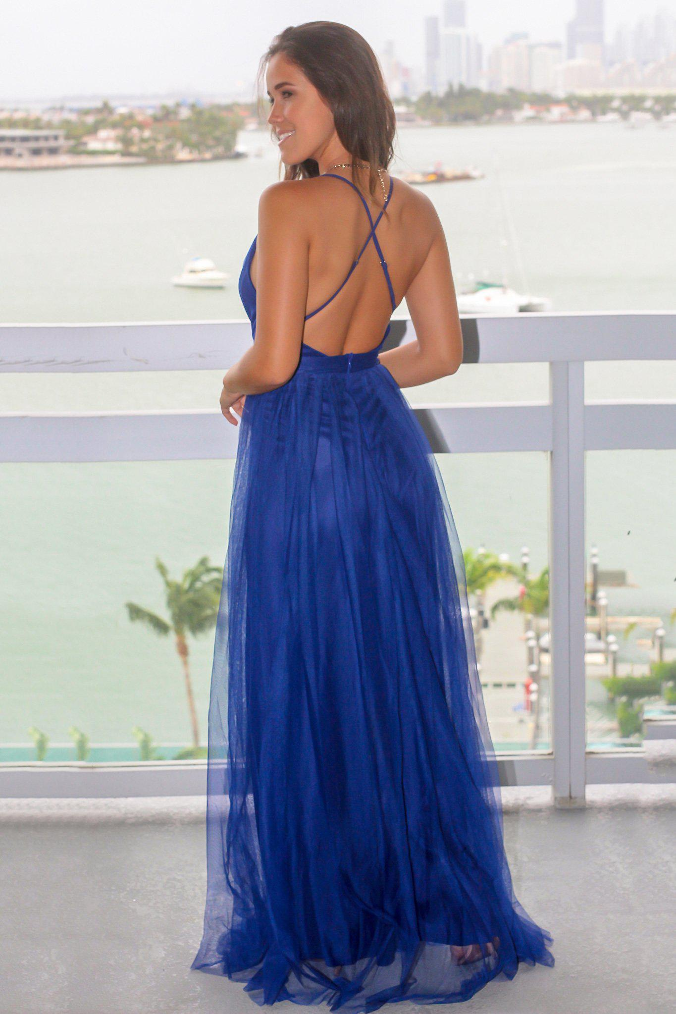 Royal Blue Tulle Maxi Dress with Criss Cross Back