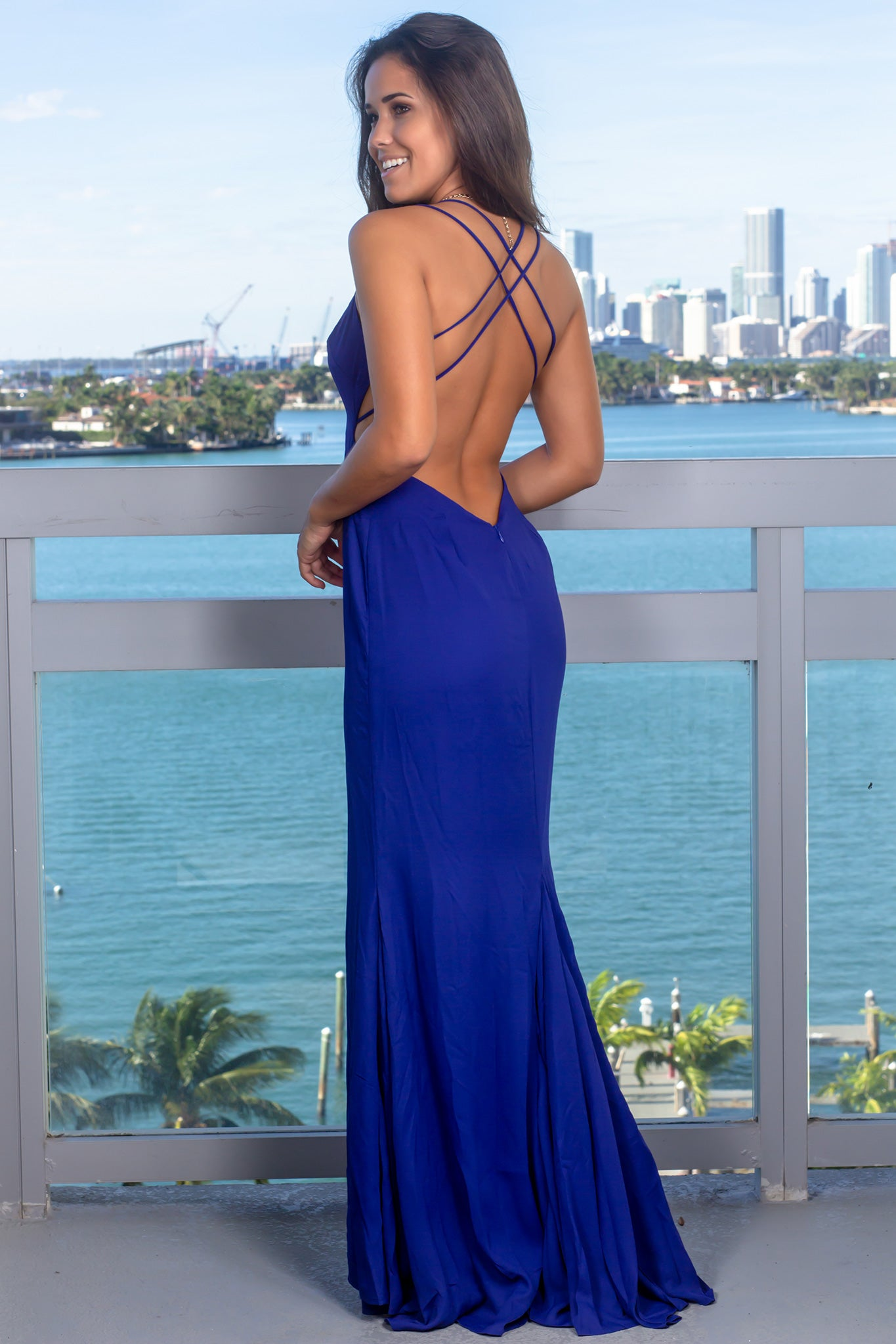 Royal Blue V-Neck Maxi Dress with Front Slit