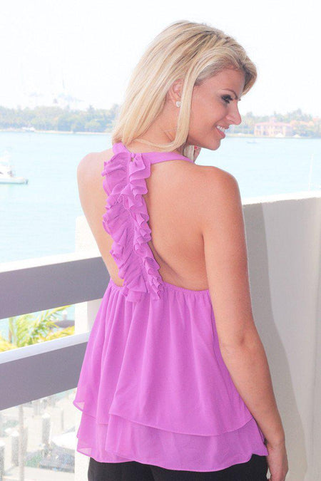 Orchid Ruffled Back Top