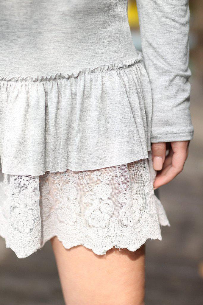 gray lace tunic