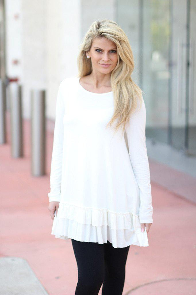 off white ruffled short dress