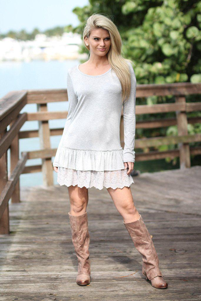 Gray Ruffled Tunic with Lace