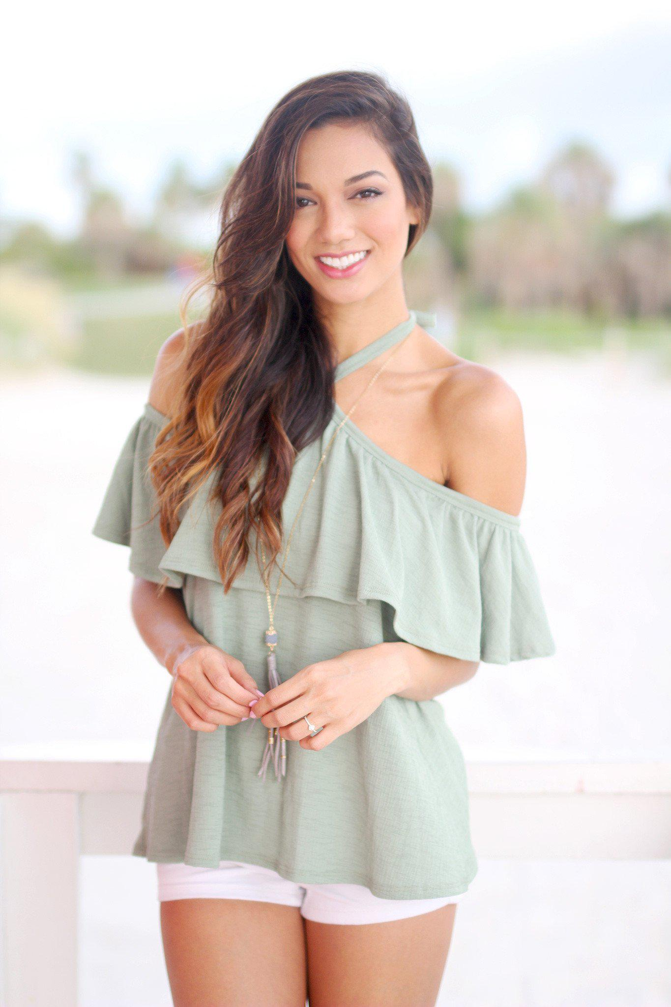 Sage Ruffled Top