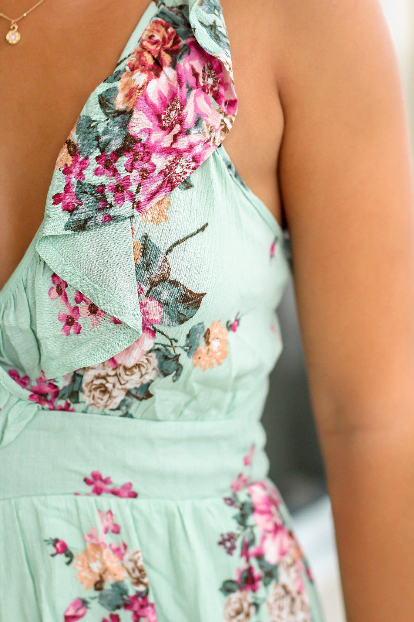 Sage Floral Romper with Criss Cross Back