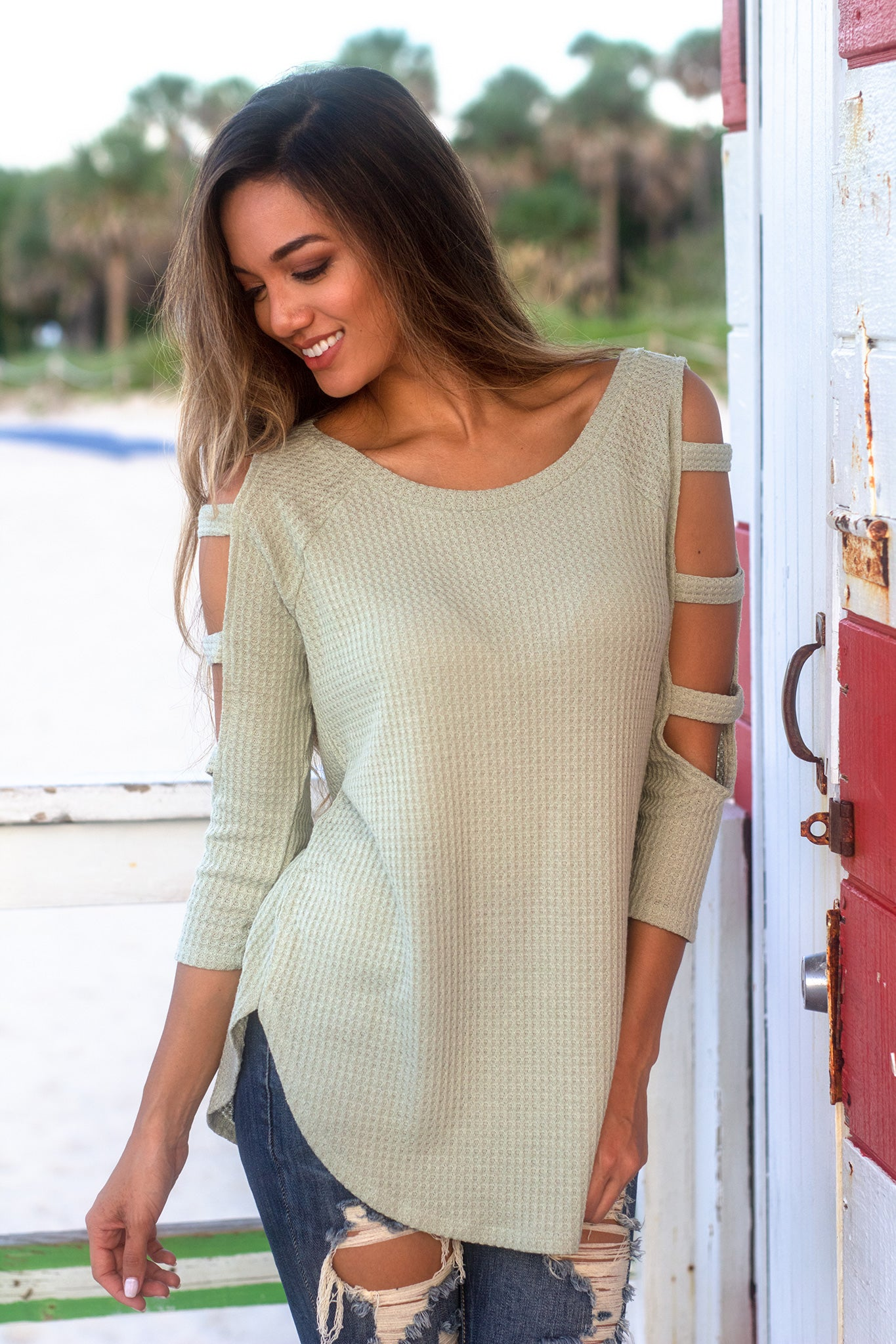 Sage Knit Top with Cut Out Sleeve Detail
