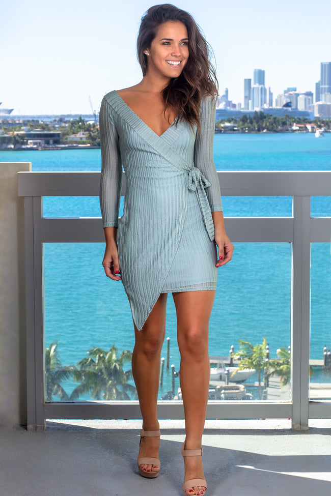 Sage Long Sleeve Short Dress