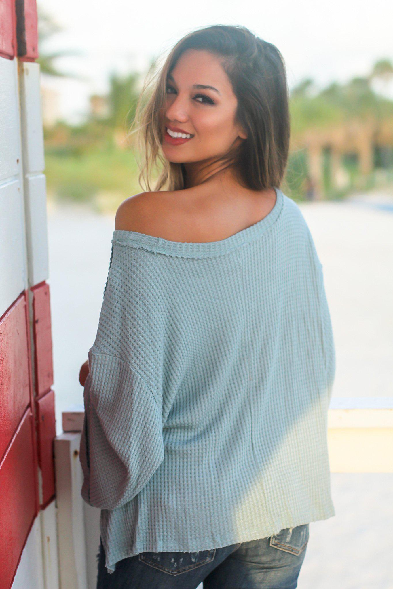 Sage Oversized Top