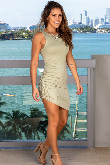 Sage Ruched Short Dress