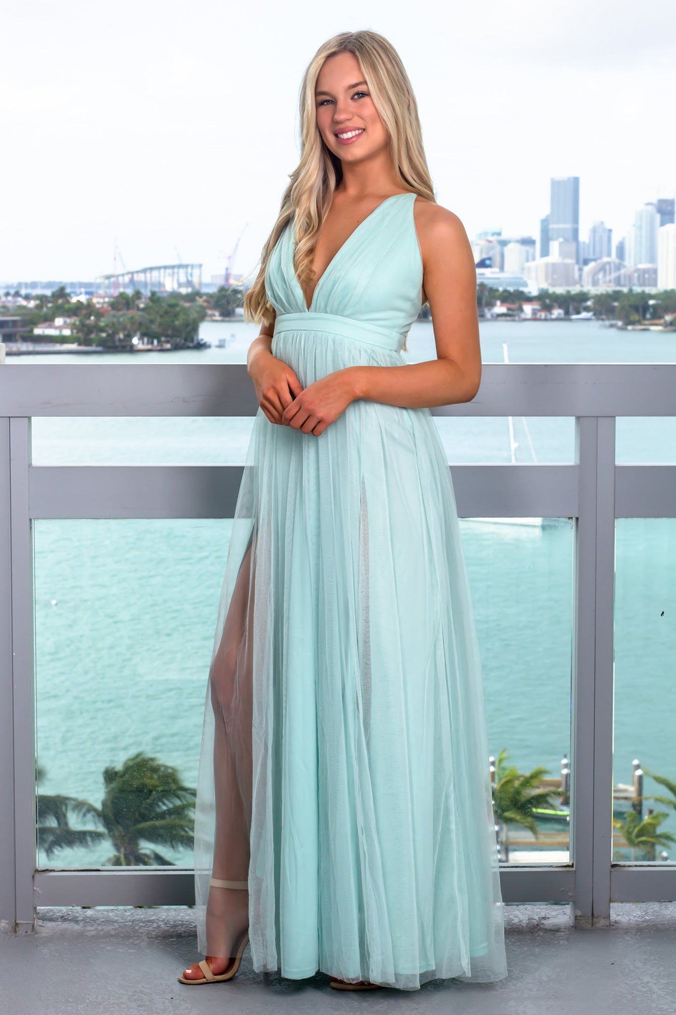 Sage Tulle Maxi Dress with Criss Cross Back