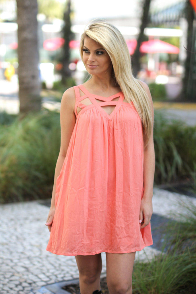 salmon loose fit dress