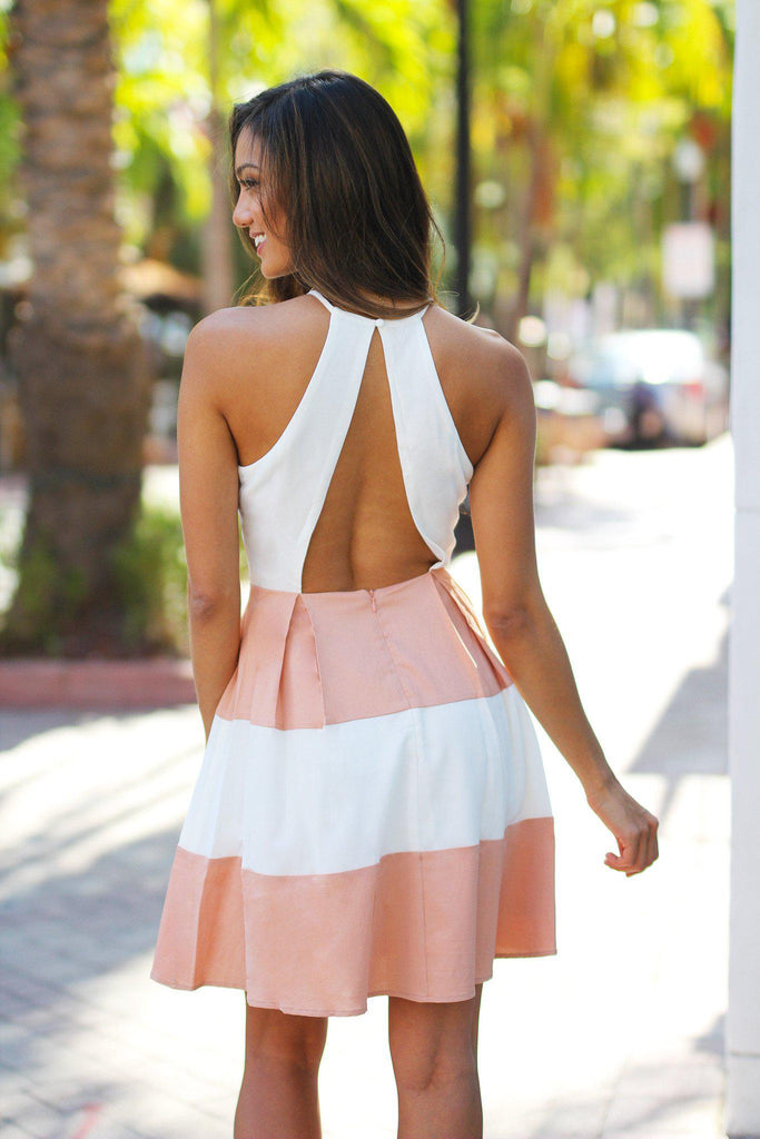 color block open back dress