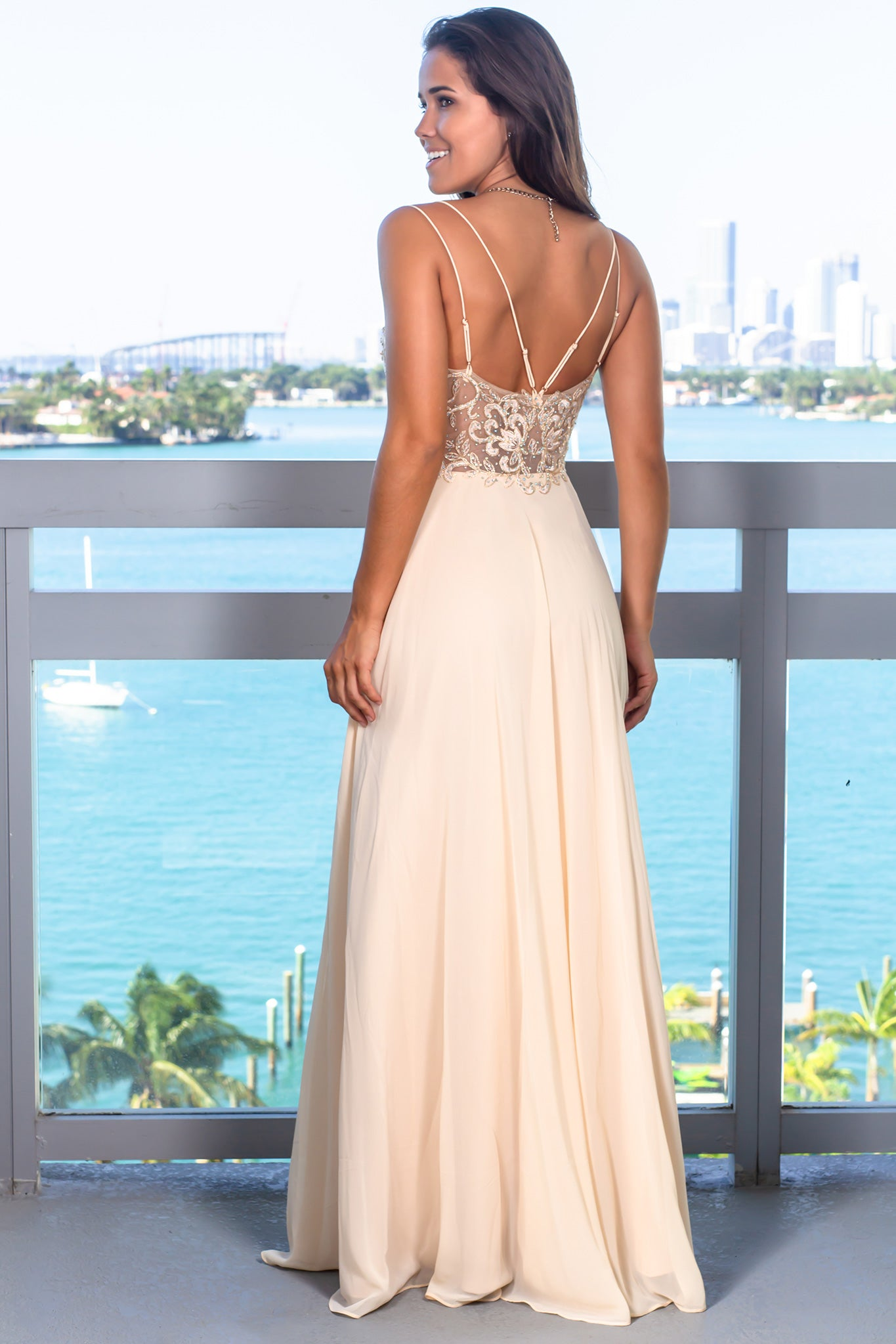 Sand Maxi Dress with Gold Details