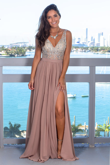Sand Maxi Dress with Silver Jewels
