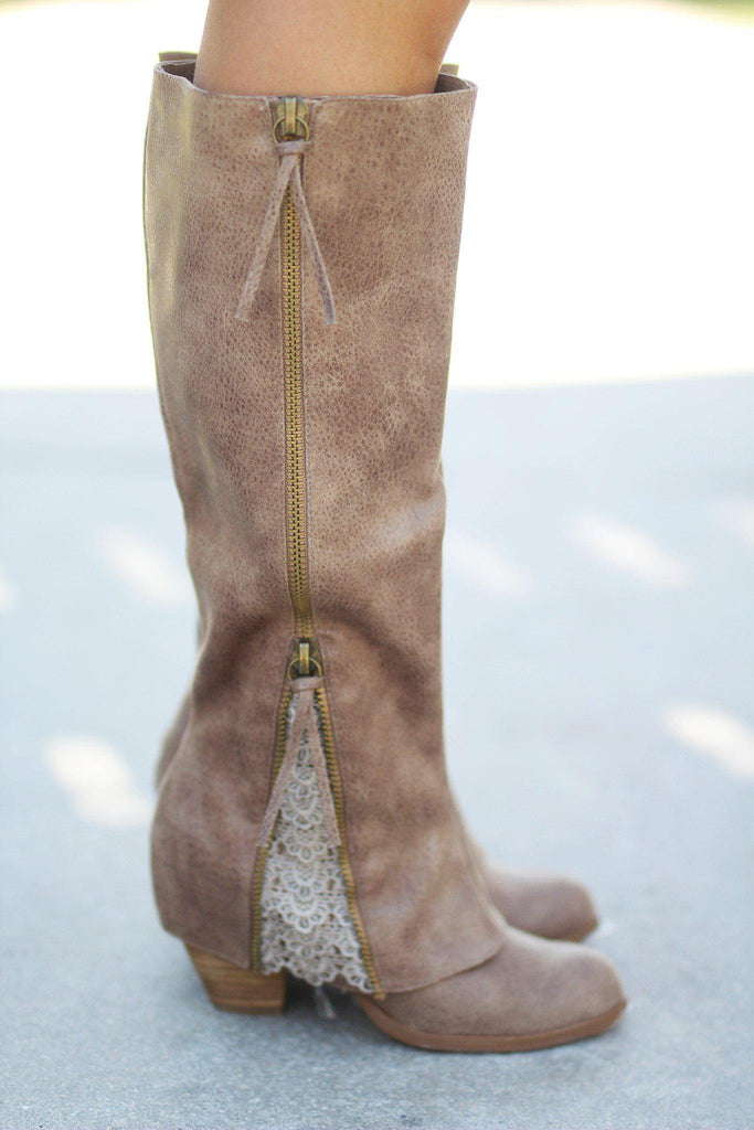 Sassy Classy Taupe Boots
