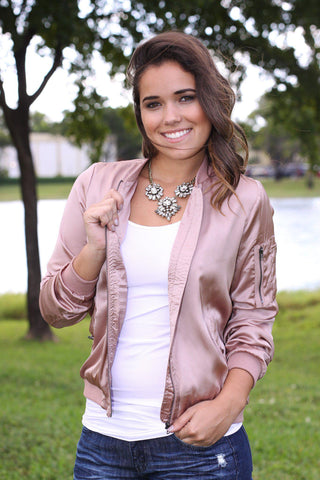 Dusty Rose Satin Bomber Jacket