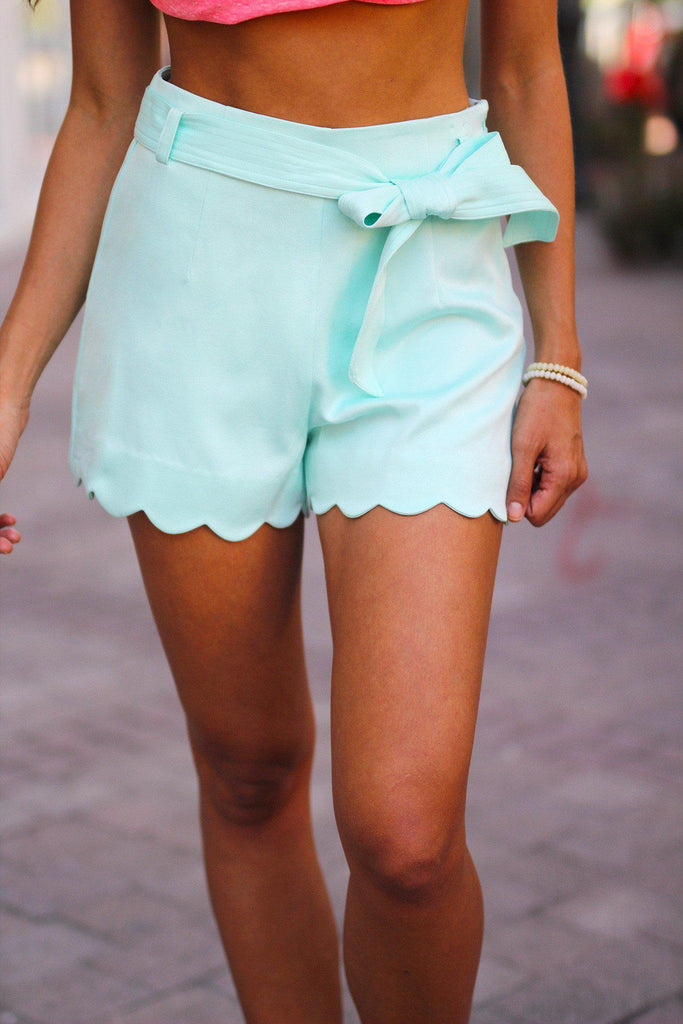 scalloped mint shorts
