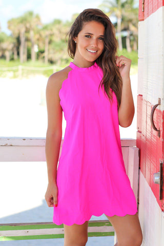 Fuchsia Scalloped Short Dress