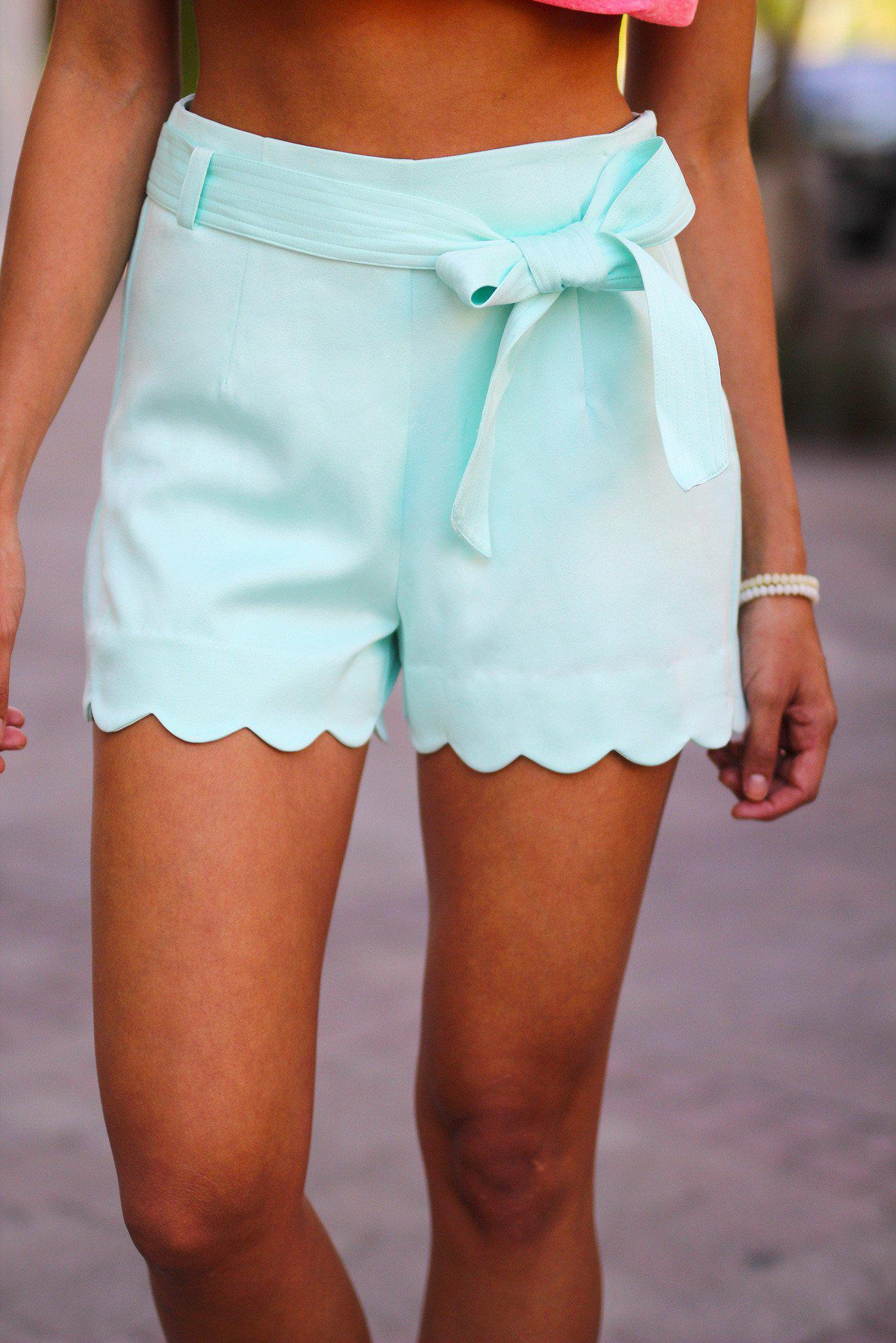 Mint Scalloped Shorts