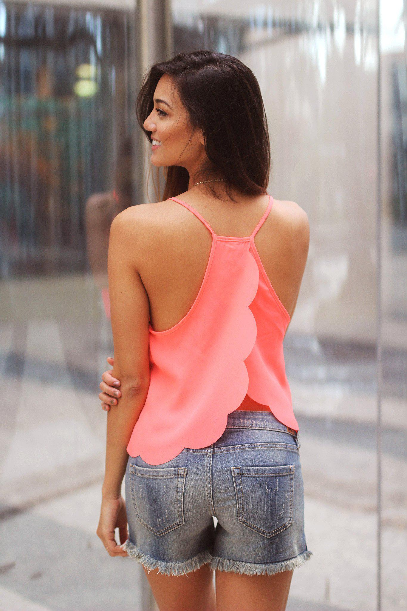 Neon Coral Top with Scalloped Cut Back