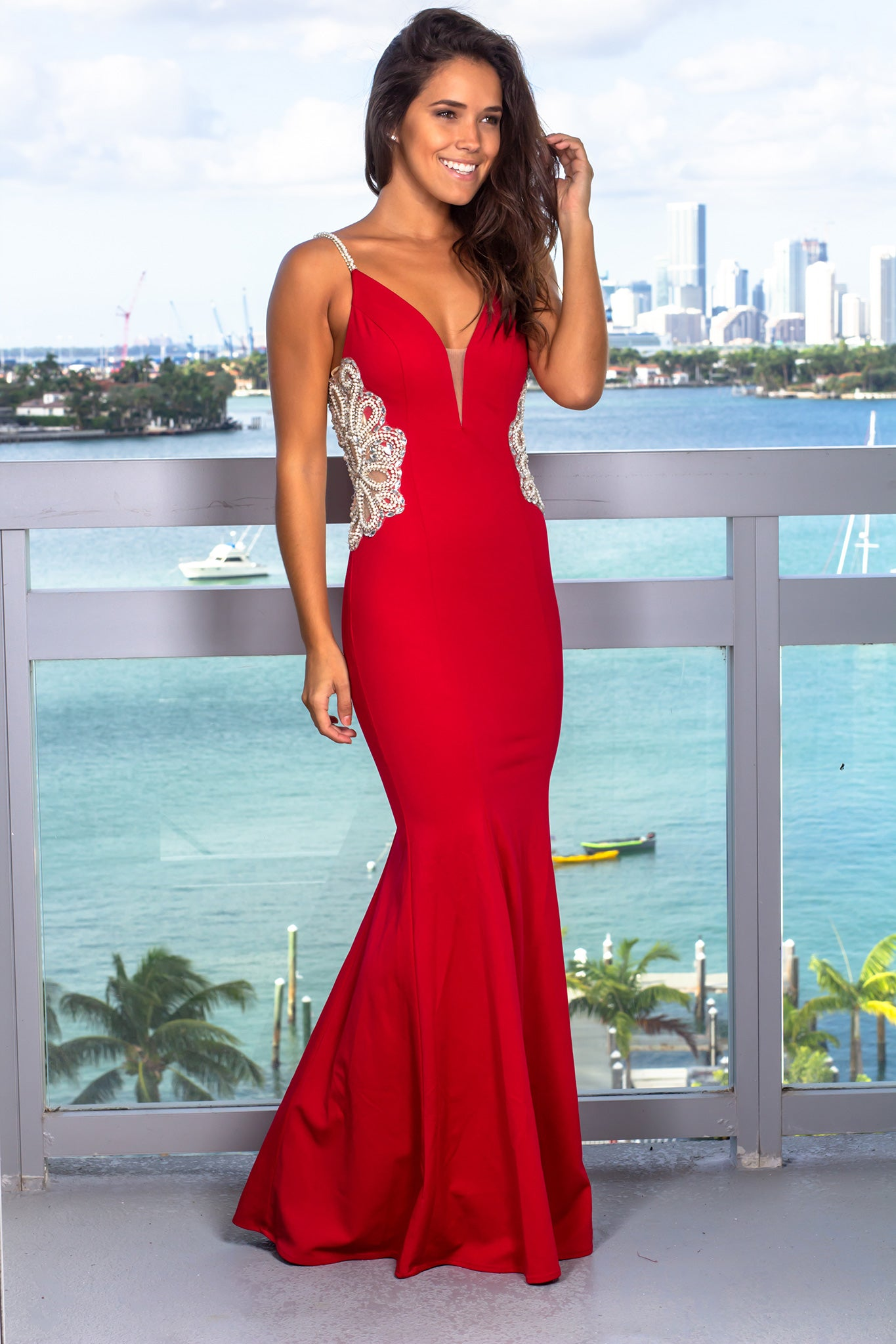 Scarlet Maxi Dress with Jeweled Detail