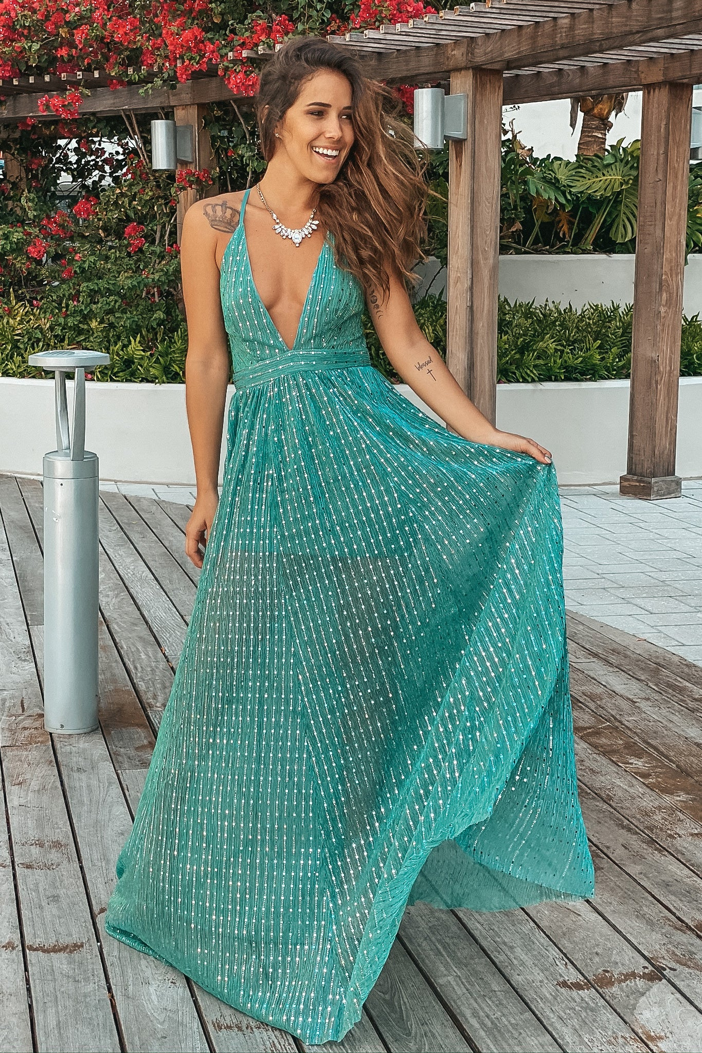 Seafoam Green Sequin Maxi Dress with Criss Cross Back