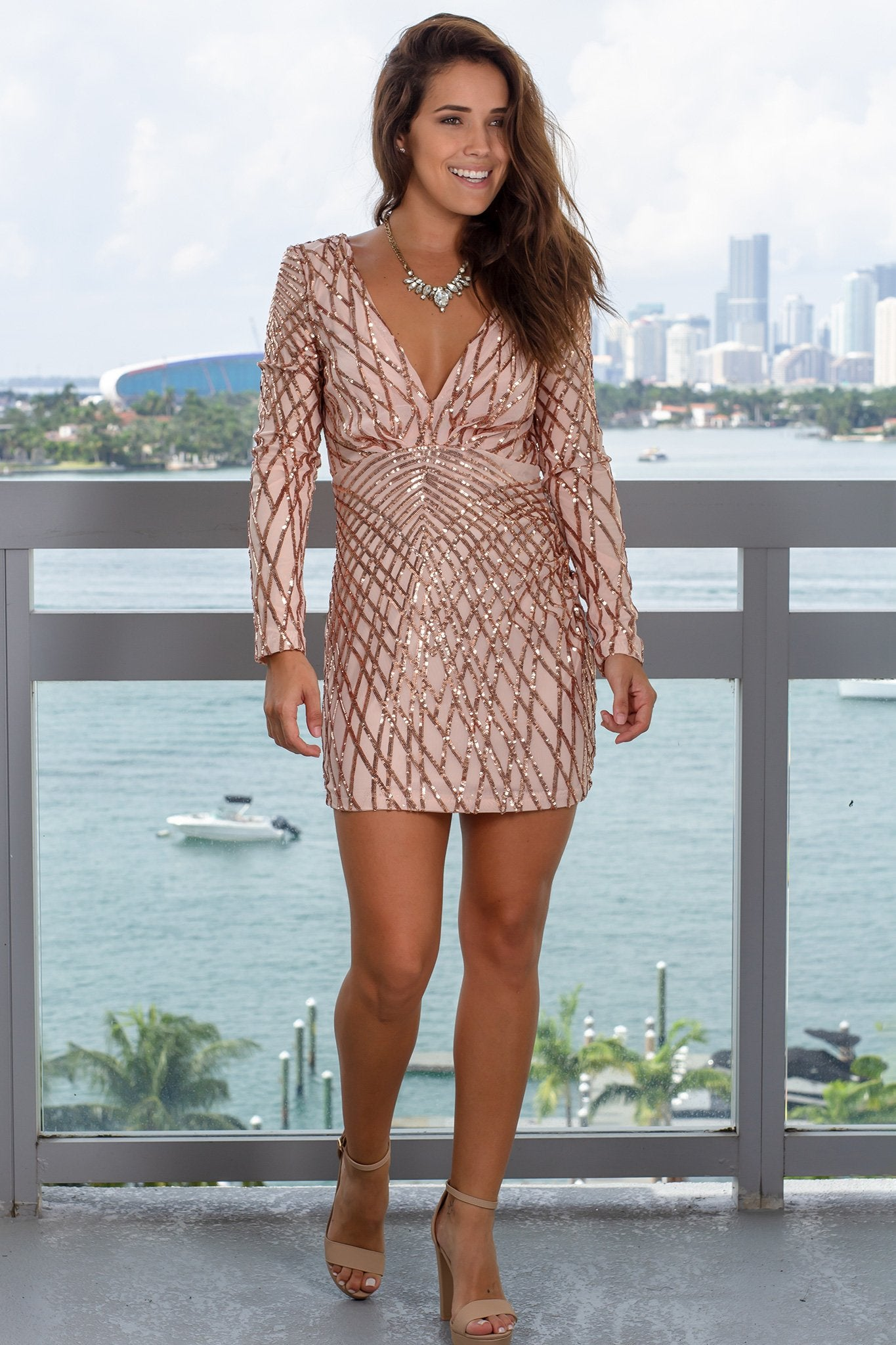 Blush V-Neck Sequin Short Dress