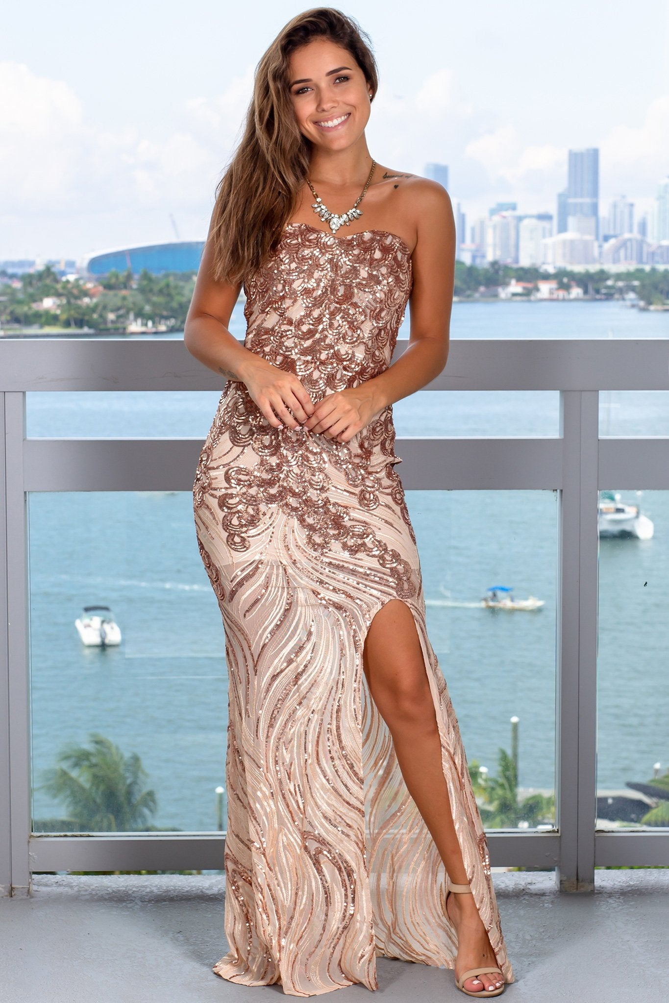 Rose Gold Strapless Sequin Maxi Dress
