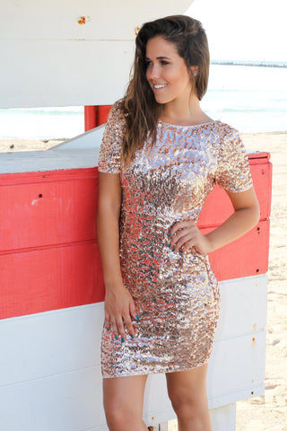 Rose Gold Sequined Short Dress
