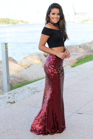 Burgundy Sequined Maxi Skirt