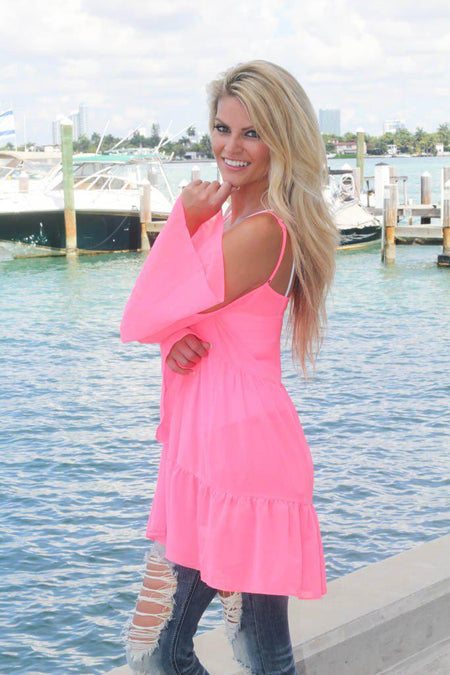 Sheer Neon Pink Bell Sleeve Top