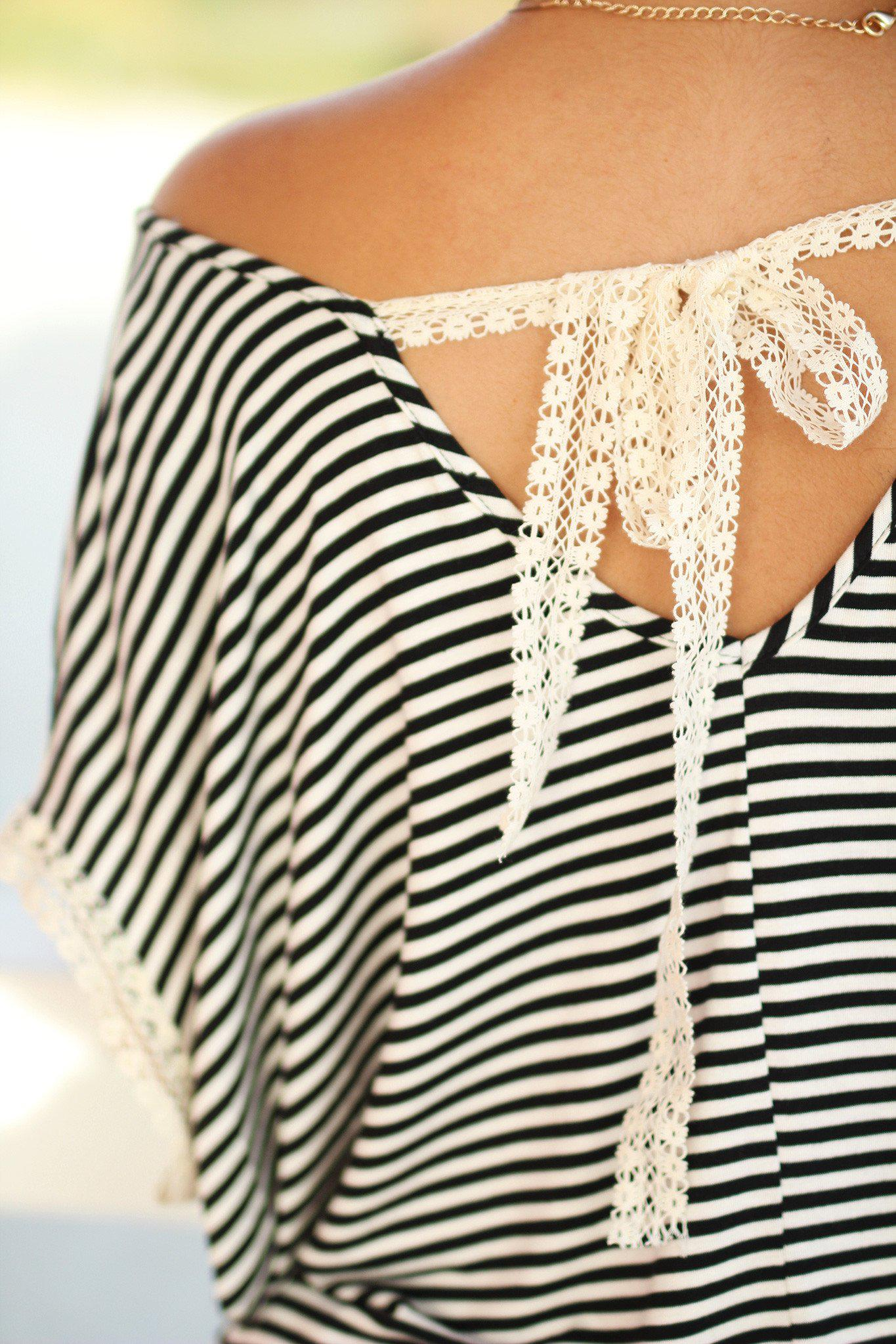 Striped Top with Lace Detail