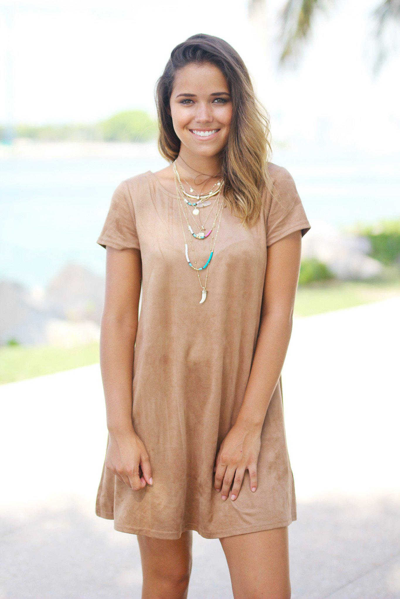 Khaki Suede Short Dress