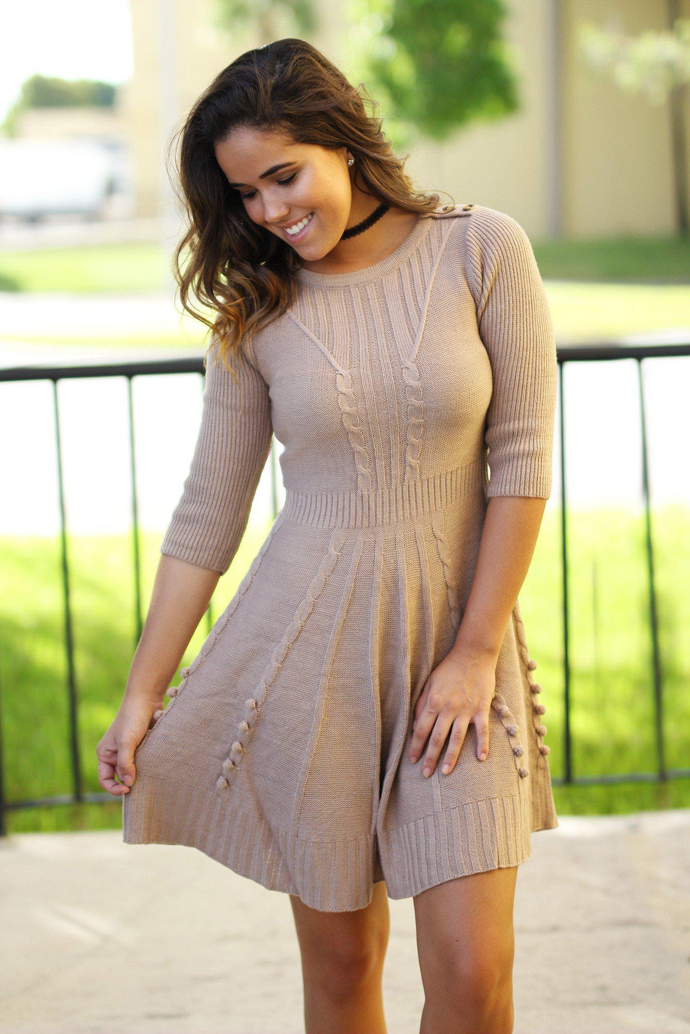 taupe 3/4 sleeve dress