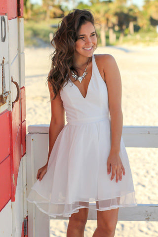 Ivory Short Dress with Lace Back