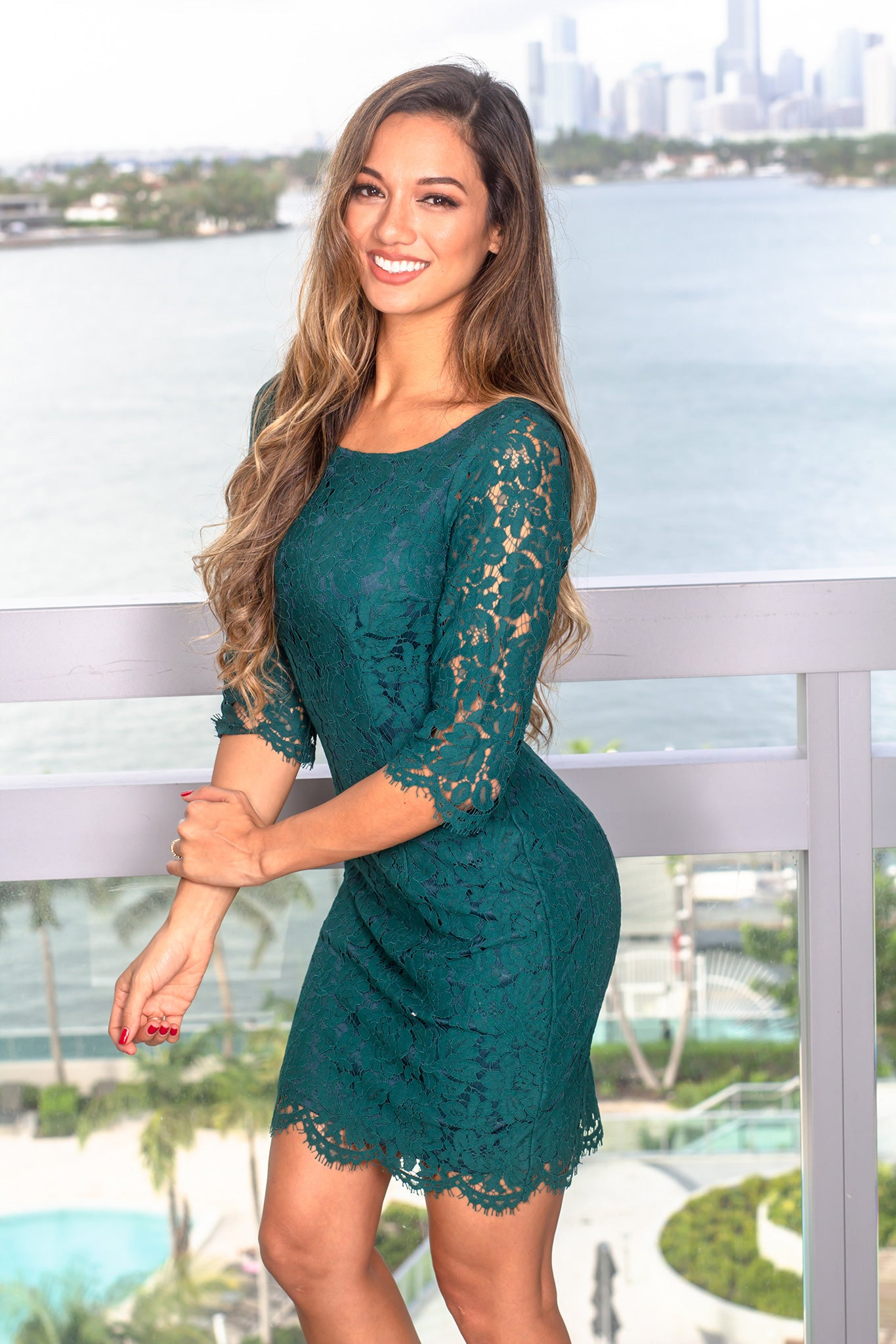 Green Lace Dress with Sleeves