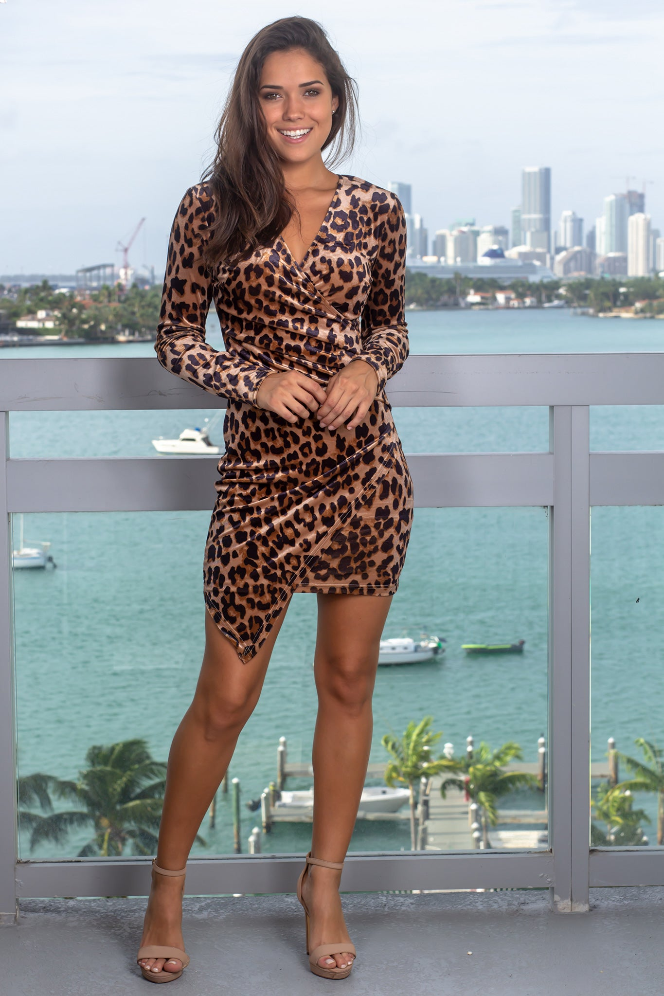 Leopard Print Short Dress with Long Sleeves