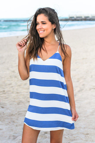 Blue Color Block Tank Short Dress