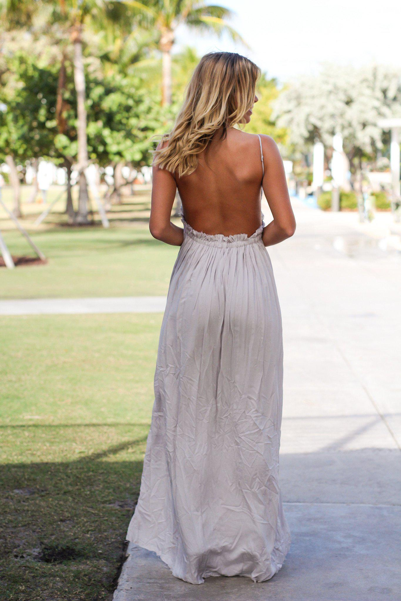 Silver Lace Maxi Dress with Open Back