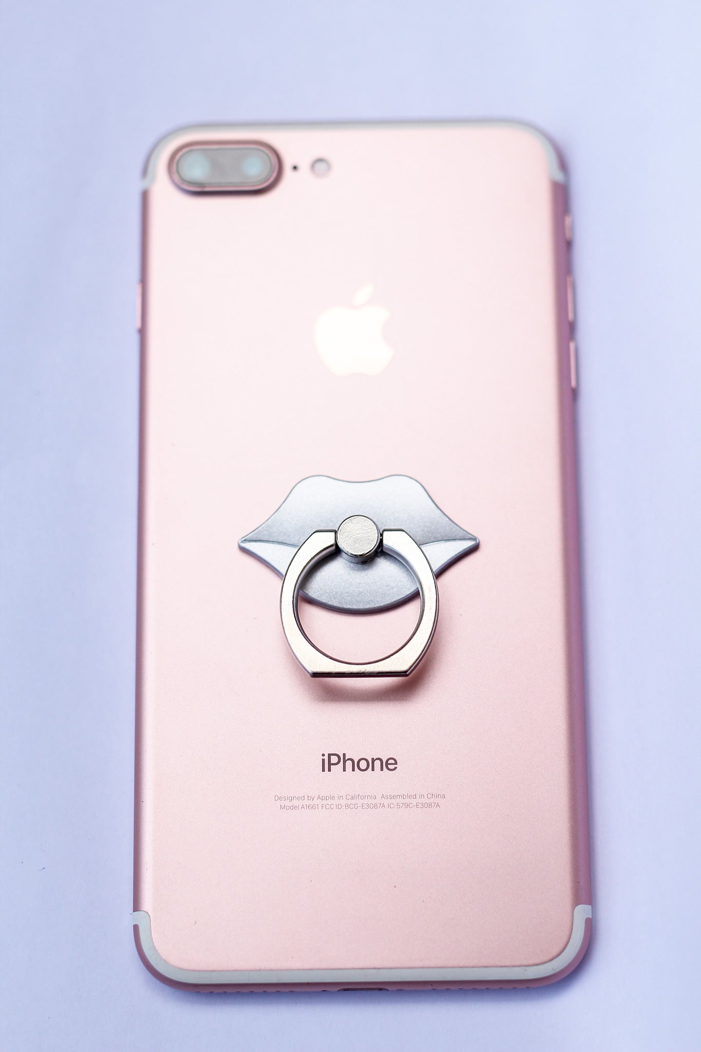 Silver Lips Pop Socket
