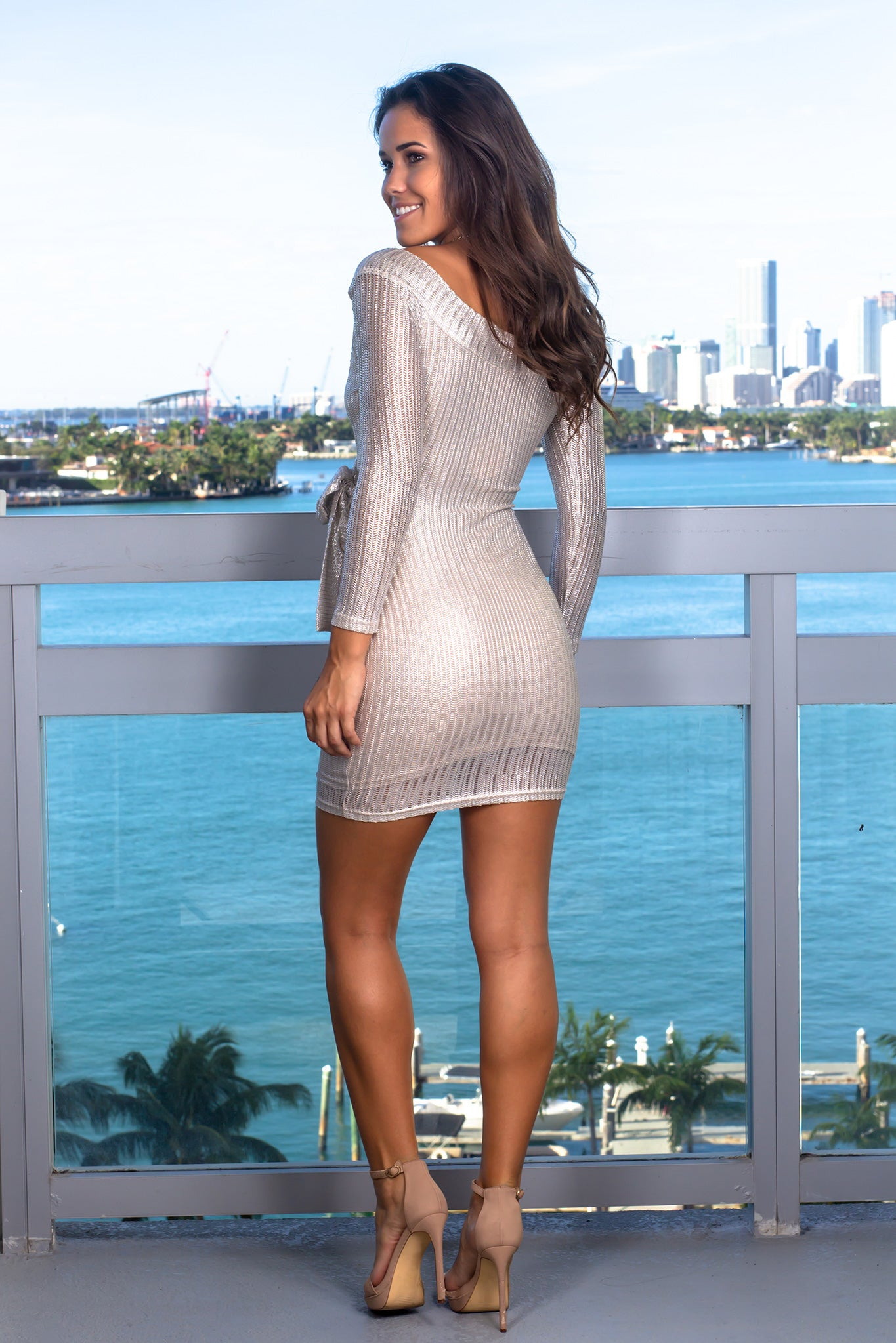 Silver Long Sleeve Short Dress