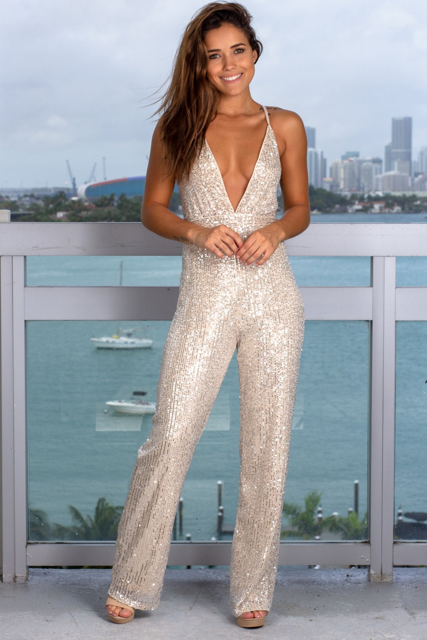 Silver and Beige Sequin Jumpsuit