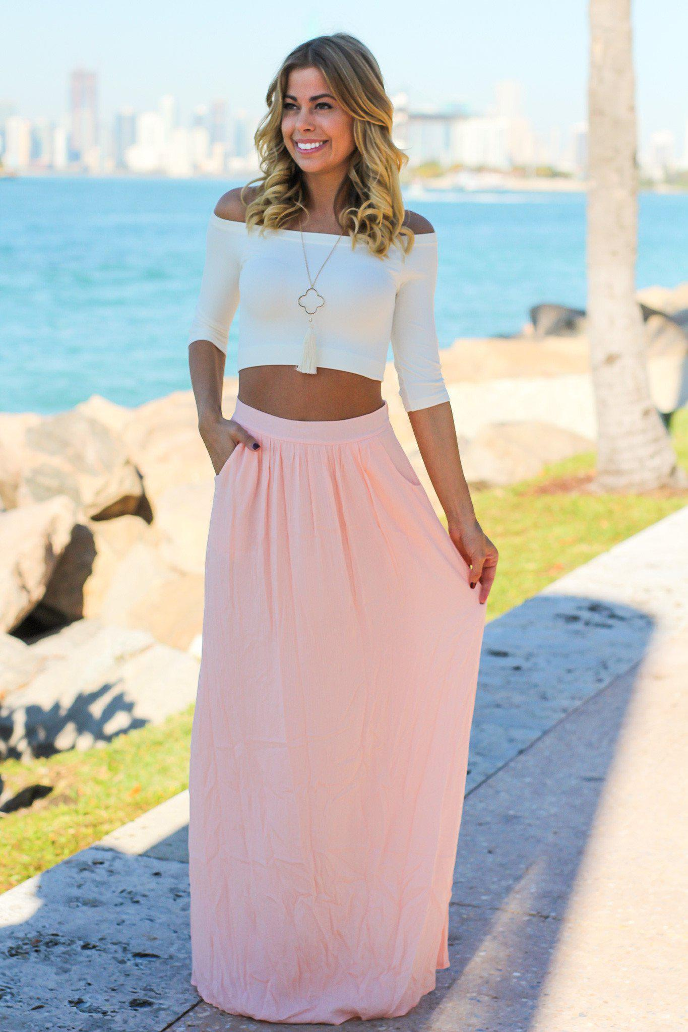 Light Pink Maxi Skirt With Pockets Skirts Saved By The Dress