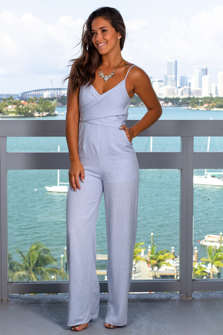 Sky Blue Jumpsuit with Tie Back