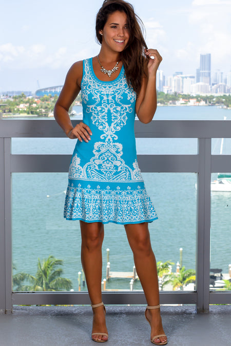 Sky Blue and White Printed Short Dress