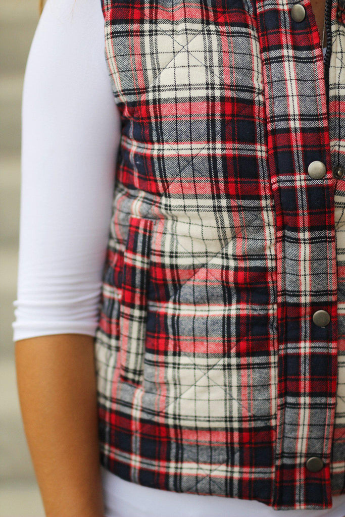 Red and Navy Plaid Vest with Pockets