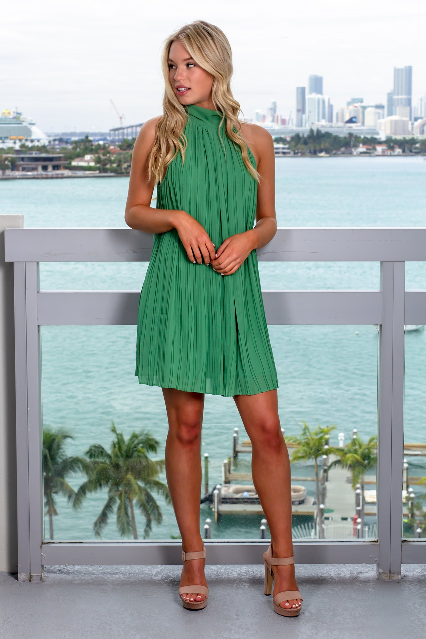 Soft Green High Neck Pleated Dress