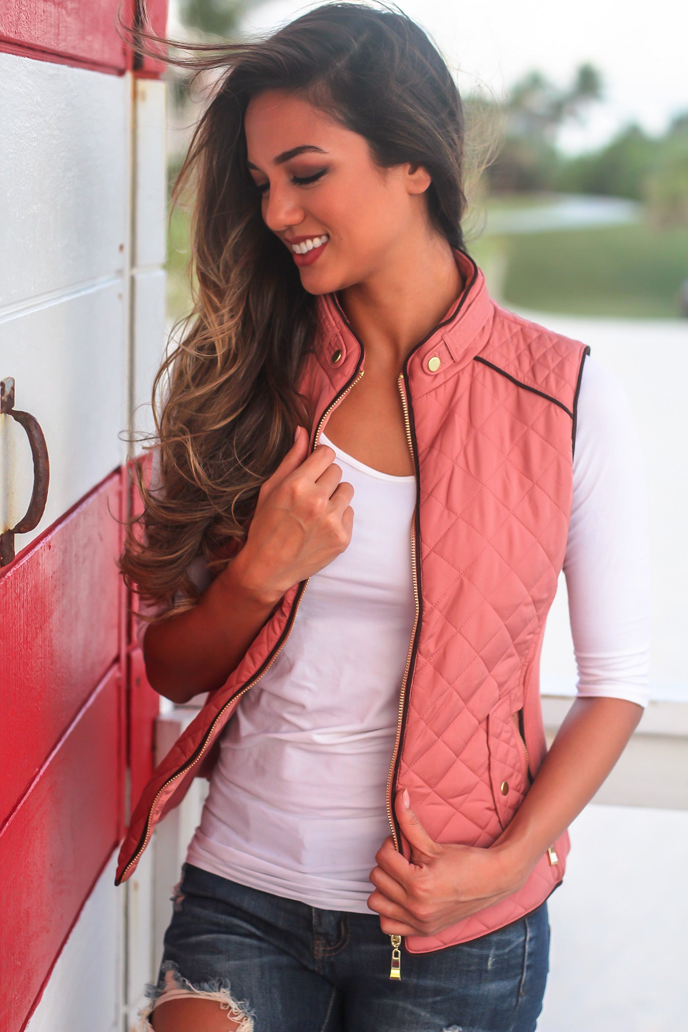 Soft Pink Quilted Vest with Pockets